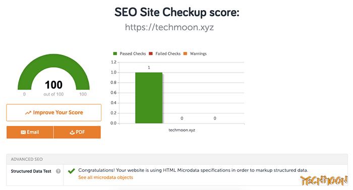 SEO Site Checkup 所提供的結構化資料檢測工具(Structured Data Test Tool)分析結果
