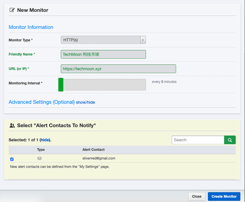 添加想要監控網站的類型與接收通知的 Email