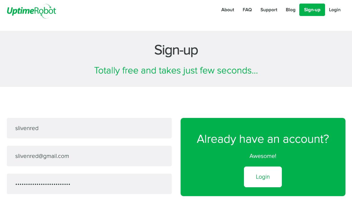 註冊 Uptime Robot 免費帳號