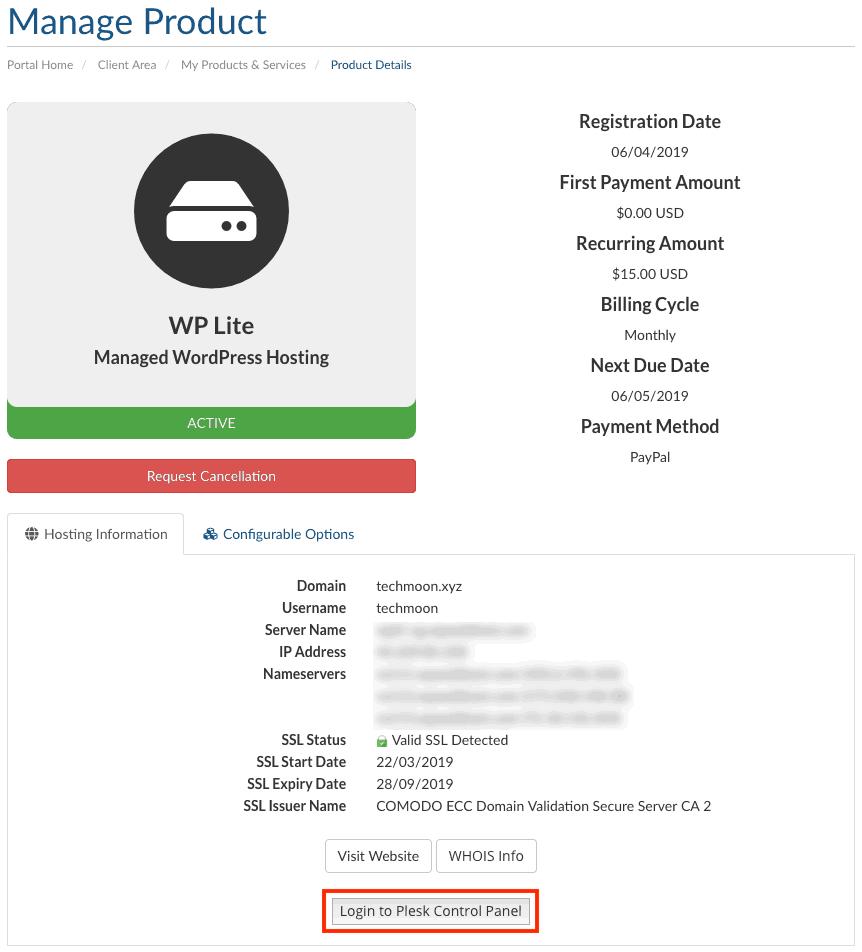 在「Manage Product」頁面當中可以查看主機的細節內容,以及在此登入 Plesk 後台管理主機
