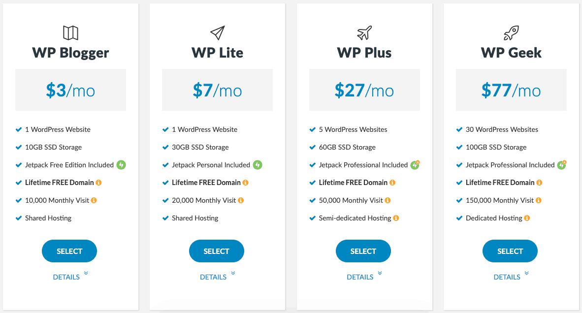 WPWebHost 擁有 4 種不同的主機方案