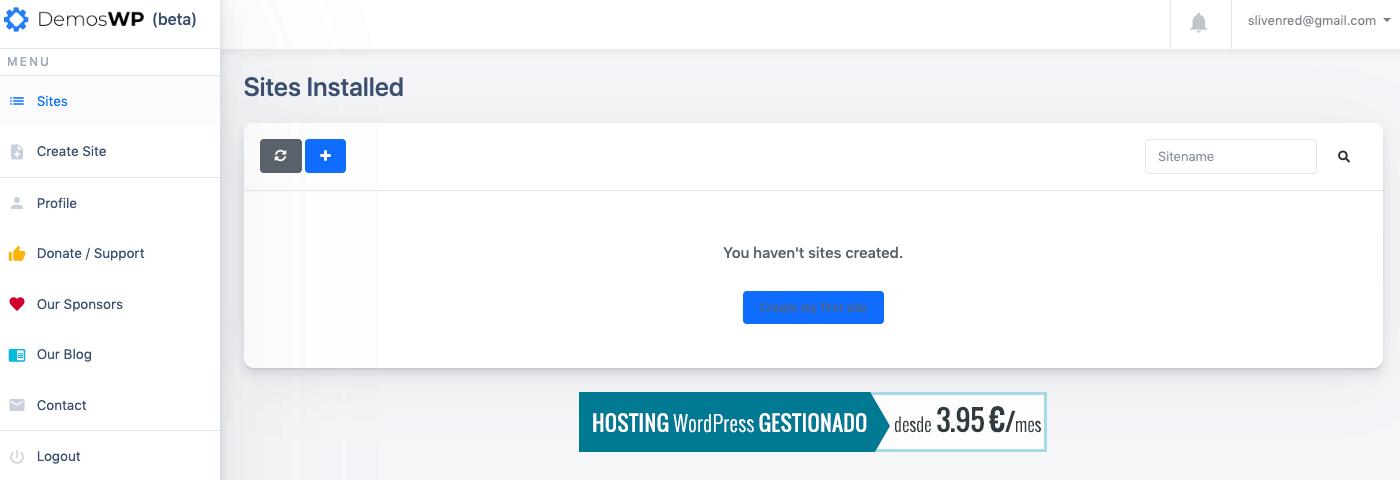 可以在 Dashboard 當中點選 Create my first site 建立第一個 WordPress 網站