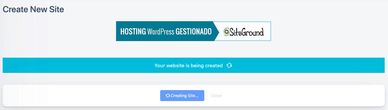 DemonsWP 正在建置 WordPress 網站與環境,大約 3 分鐘即可完成