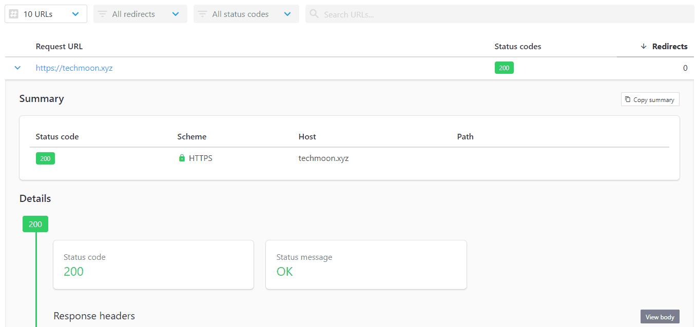 使用httpstatus 检测之后,就可以在检测结果当中,查看网址的状态码、重定向路径与次数...等等资讯