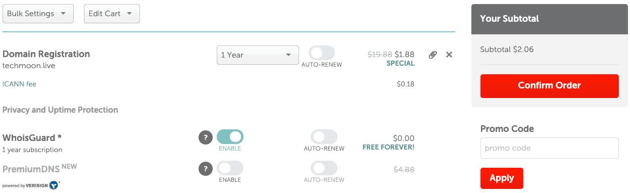 確認網域購買訂單,可以選擇購買年限以及最後加購其他產品項目