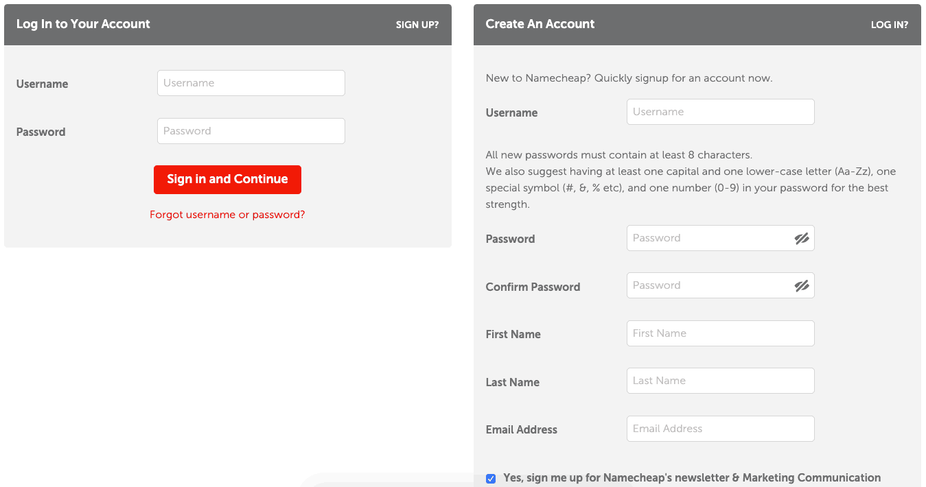 註冊與登入 NameCheap 帳號,才能接著進行後續的購買網域動作