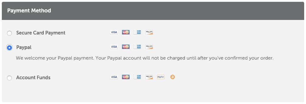 NameCheap 提供三種付款方式:信用卡、PayPal、帳號餘額付款