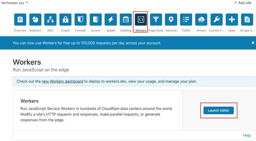 在 Cloudflare 後台當中選取 Workers 頁面啟用