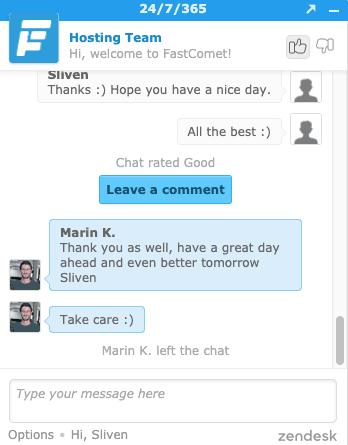 FastComet 線上客服態度相當良好