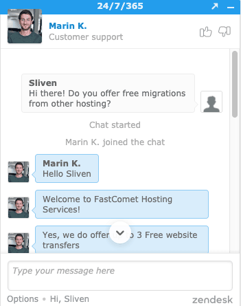 FastComet 線上客服相當專業且快速