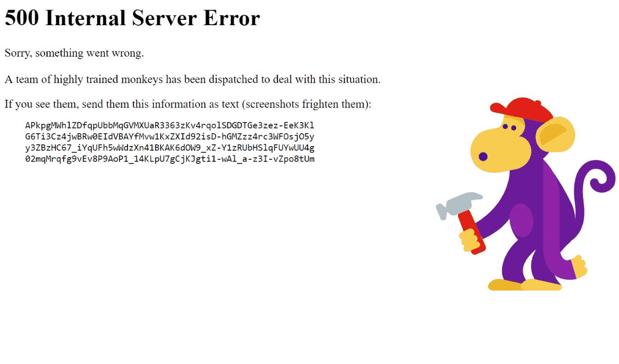 Youtube 500 Internal Server Error