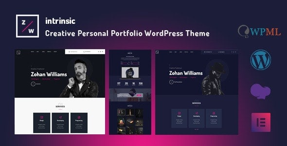 【WordPress 付費主題免費下載】Intrinsic - Creative Personal Portfolio WordPress Themes
