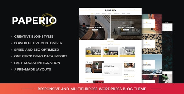 【WordPress 付費主題免費下載】Paperio - Responsive and Multipurpose WordPress Blog Theme