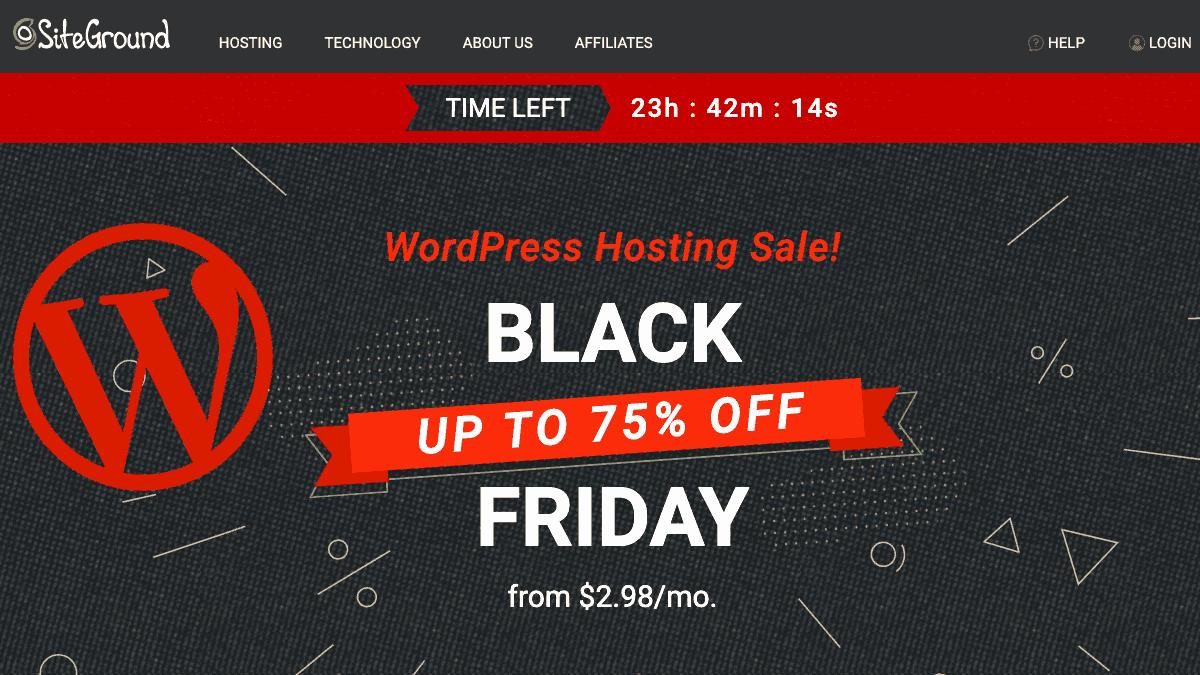 SiteGround 2019 黑色星期五 75% Off - WordPress #1 最佳虛擬主機