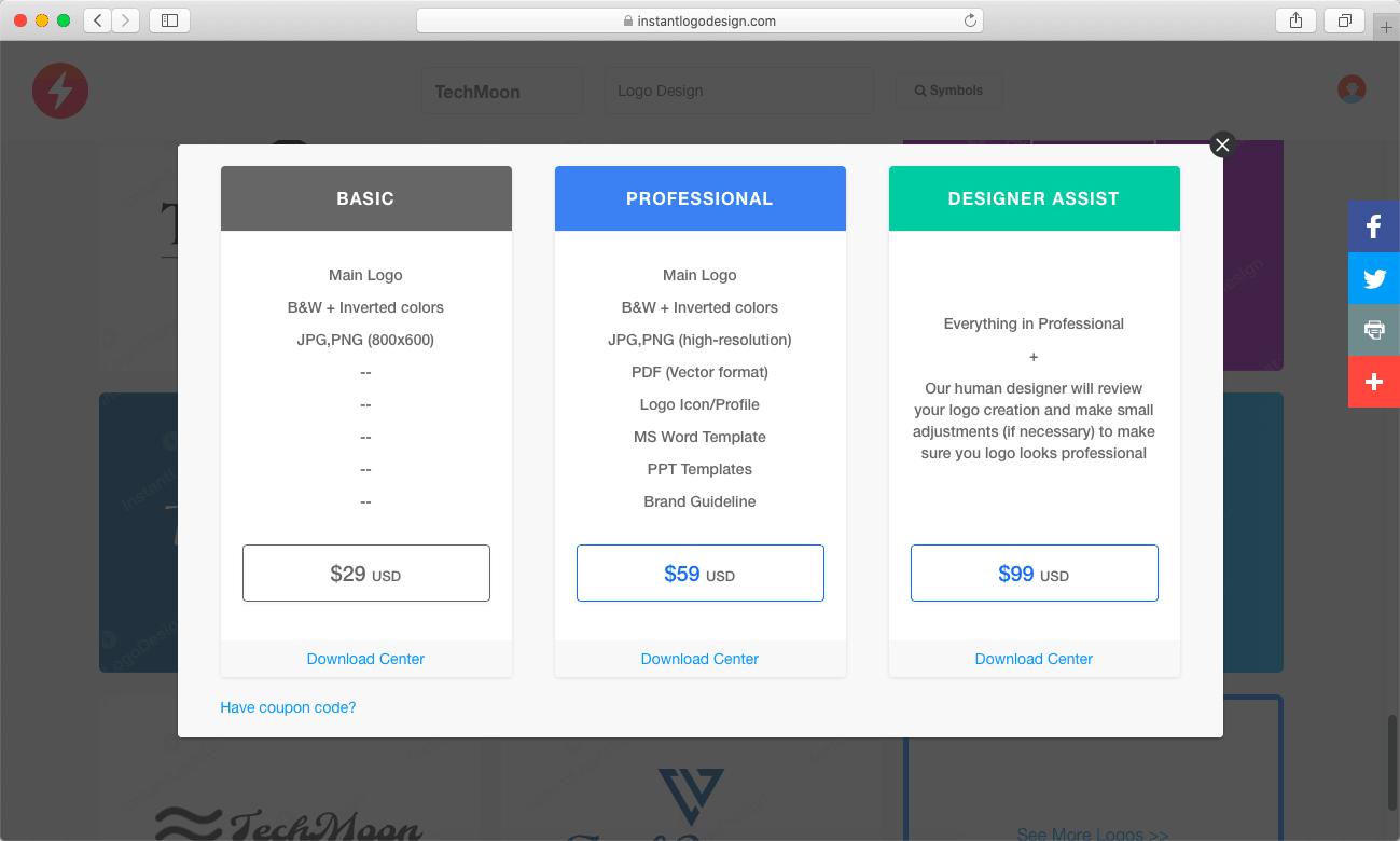 下載 Logo 前需要選擇付費的項目