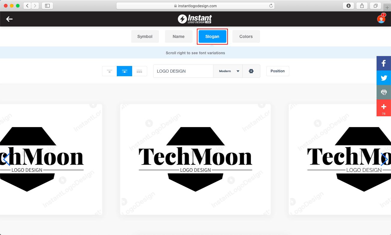 Slogan 類別可以更改 Logo 的 Slogan 口號