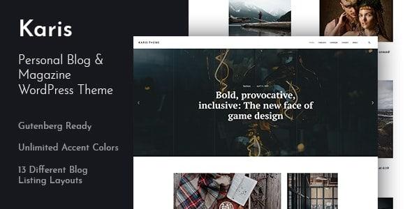 【WordPress 付費主題免費下載】Karis - Personal Blog & Magazine WordPress Theme