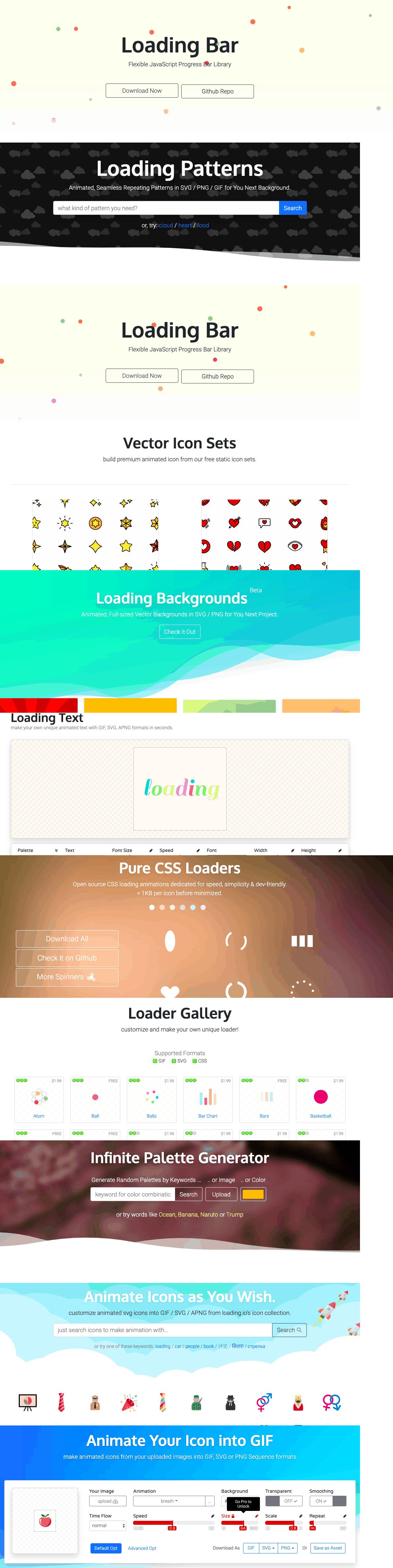 LOADING.IO 所有素材資源製作頁面