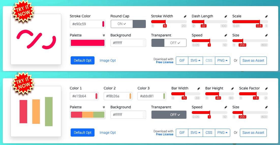 不同的 Loading Icon 會提供不同的自定義選項