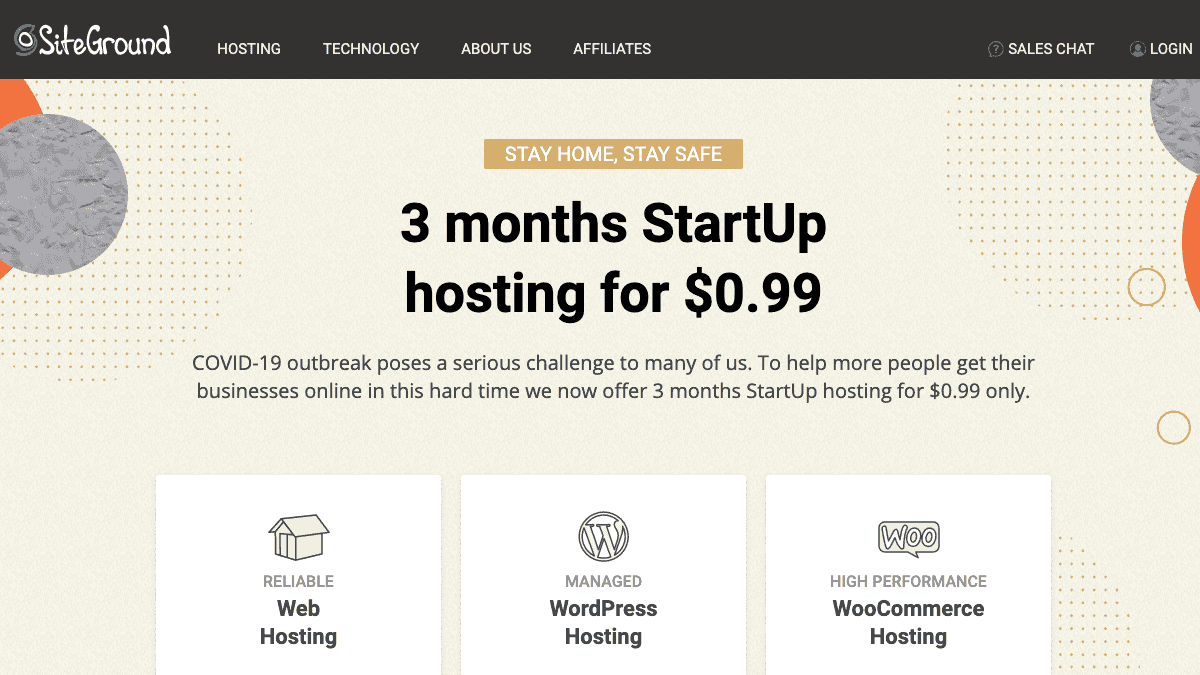 SiteGround for COVID-19 - WordPress 主機每月僅需 $0.33 美元,特惠 $0.99 美元即可購買 3 個月主機