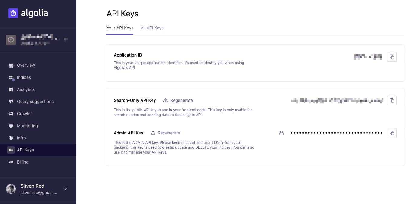 Algolia - API Key
