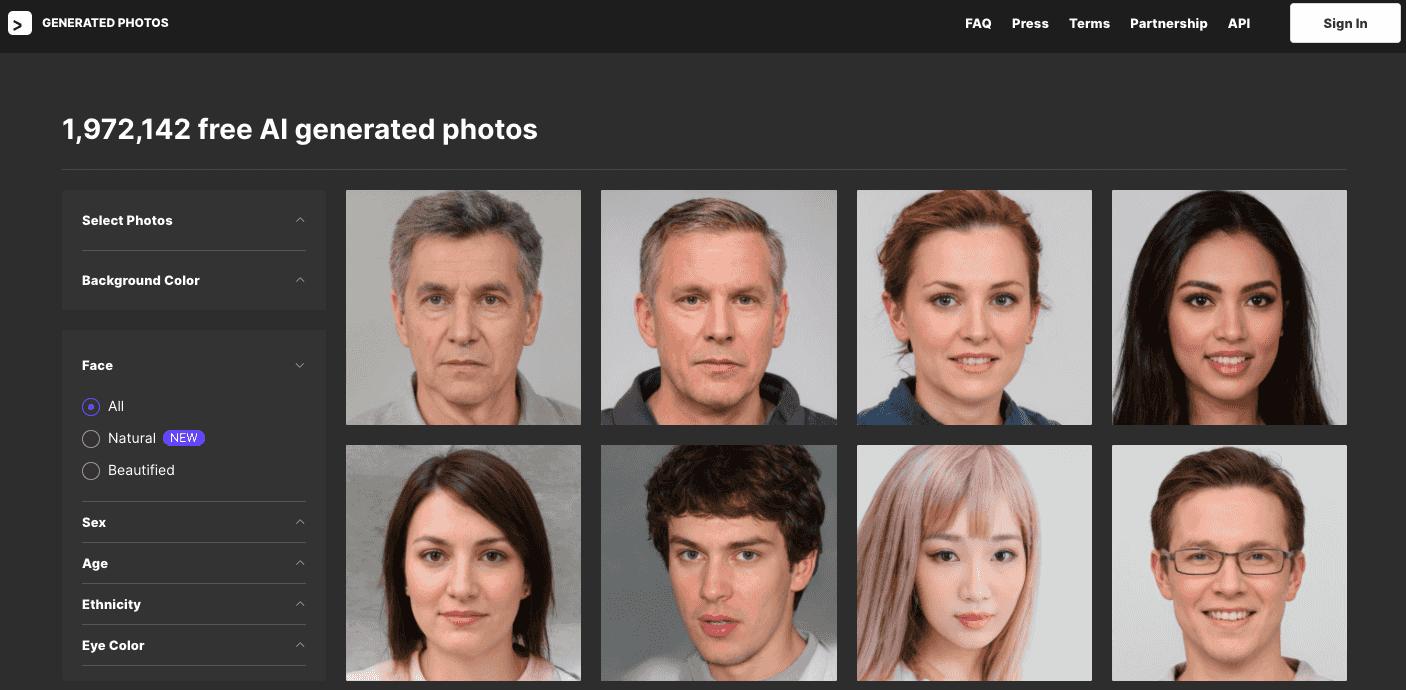 Generated Photos - 挑選人物圖片