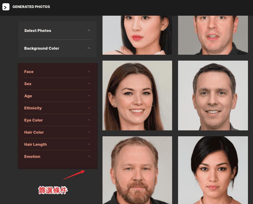 Generated Photos - 篩選條件