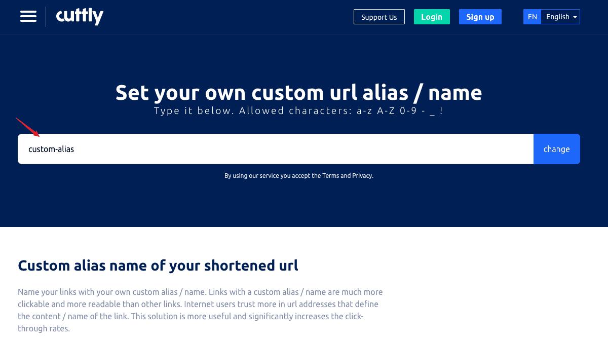 點選「custom url alias/name」即可輸入自定義網址後綴
