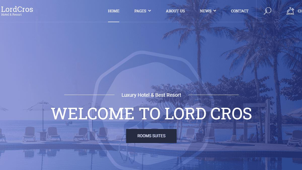 【WordPress 付費主題免費下載】LordCros - Hotel Booking WordPress Theme