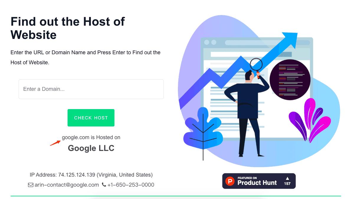 檢測 Google.com 的網域後,結果顯示的確是託管於 Google LLC