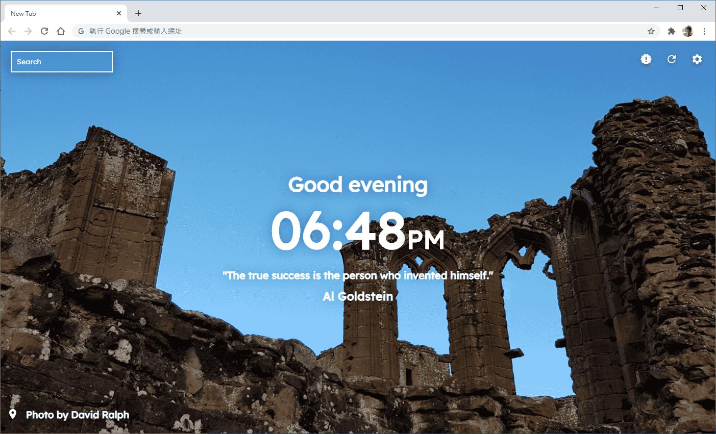 開啟新分頁就會隨機顯示不同的風景圖、引言與目前時間搭配問候語