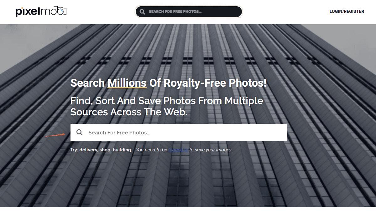 進入首頁後就可以直接進行免費圖片的搜尋
