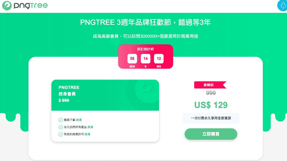 Pngtree 3 週年促銷終身方案只需 $129 美元