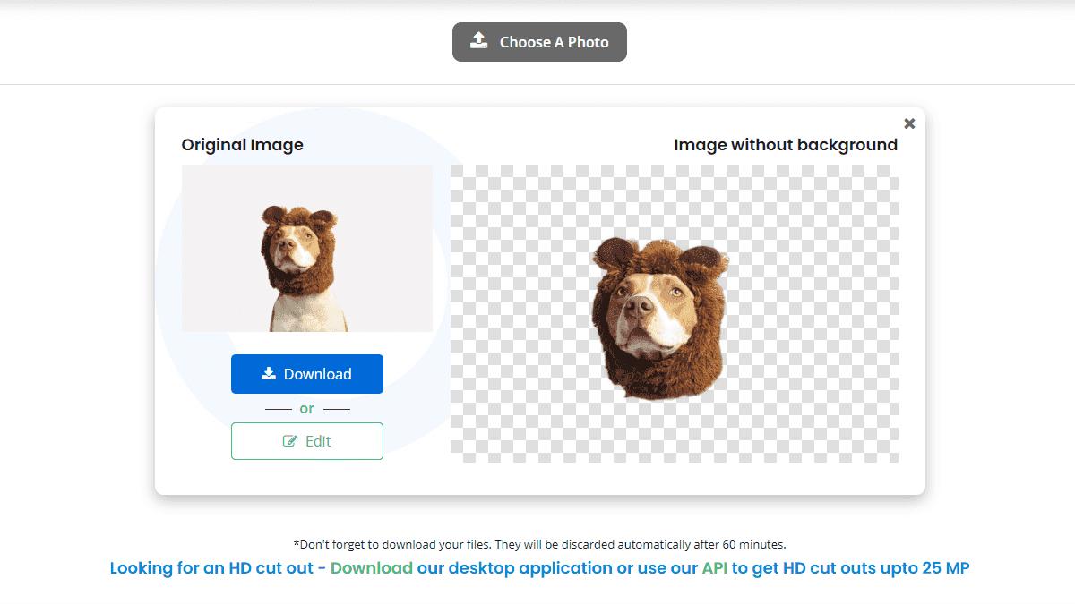 可以選擇直接下載去背後的圖片,或是再進行進階的修改