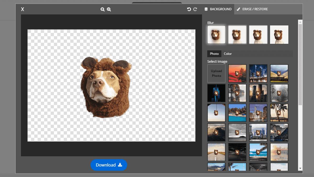 進入編輯模式後,可以調整圖片的模糊度,與設定圖片的背景及顏色