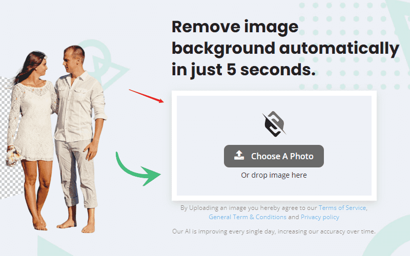 透過拖曳或點選上傳想要去背的圖片