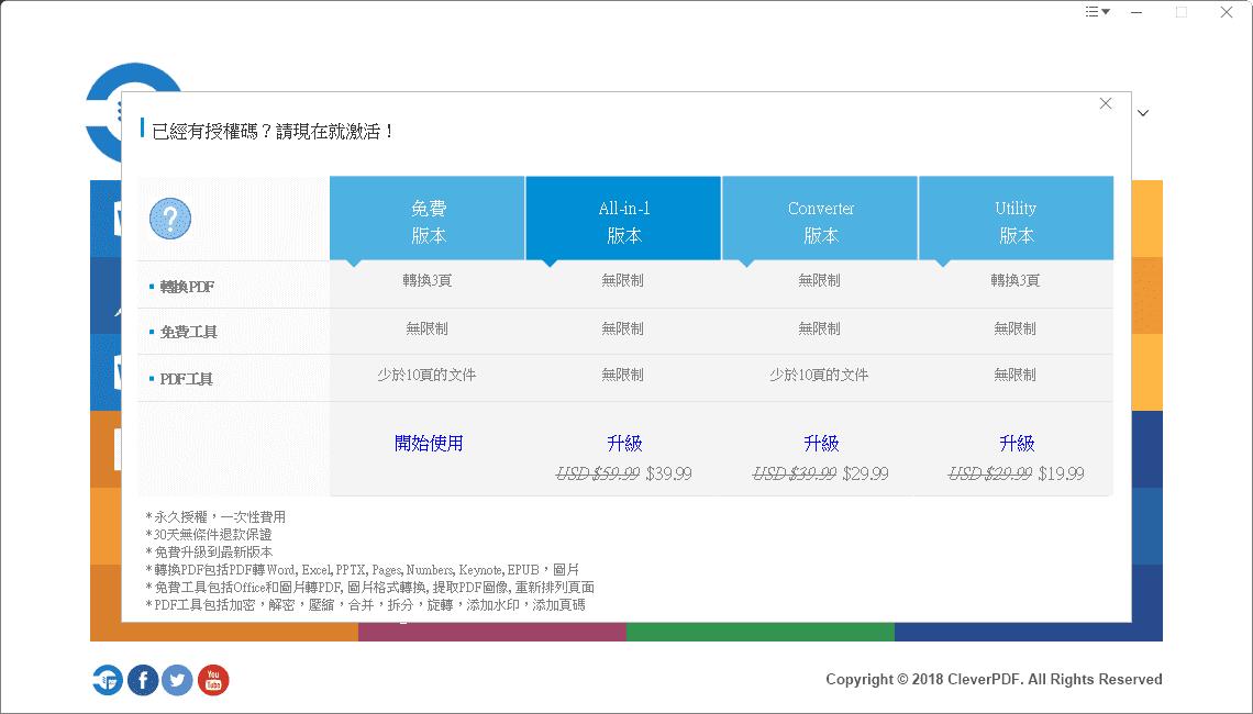 CleverPDF 桌面版本所有方案與價格