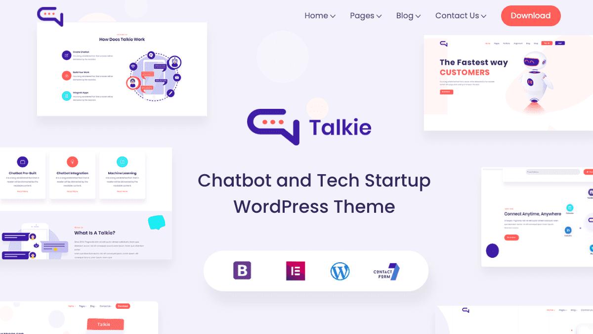 【WordPress 付費主題免費下載】Talkie - Chatbot and Tech Startup WordPress Theme
