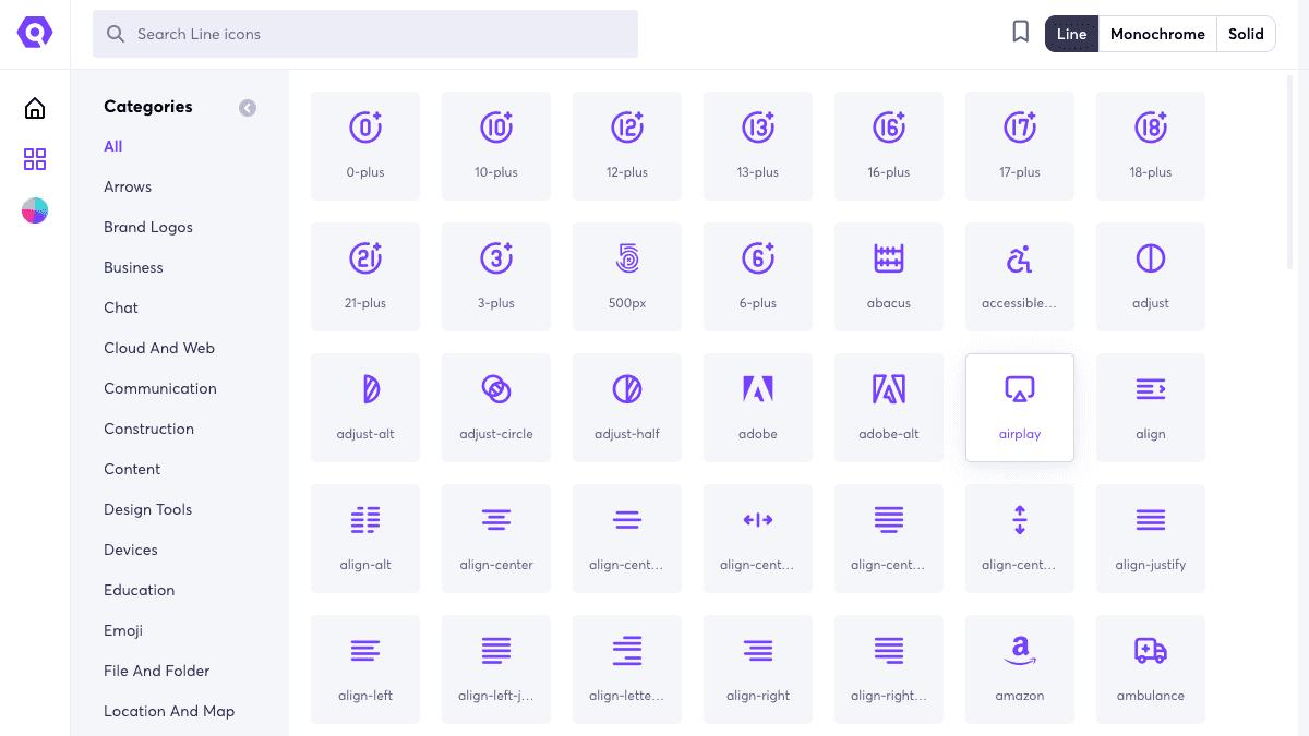 搜尋所有 Icons 與選擇不同的樣式及分類
