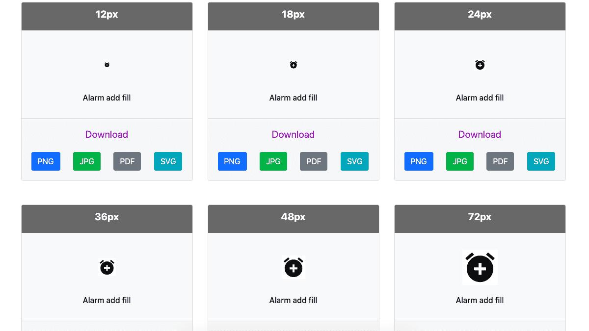 每個圖標都提供 6 種不同尺寸與 4 種不同檔案格式可供下載