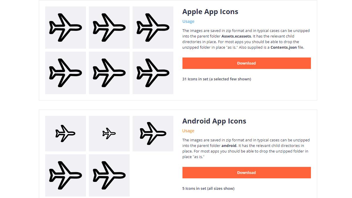 提供 iOS 與 Android APP 的各種圖標尺寸