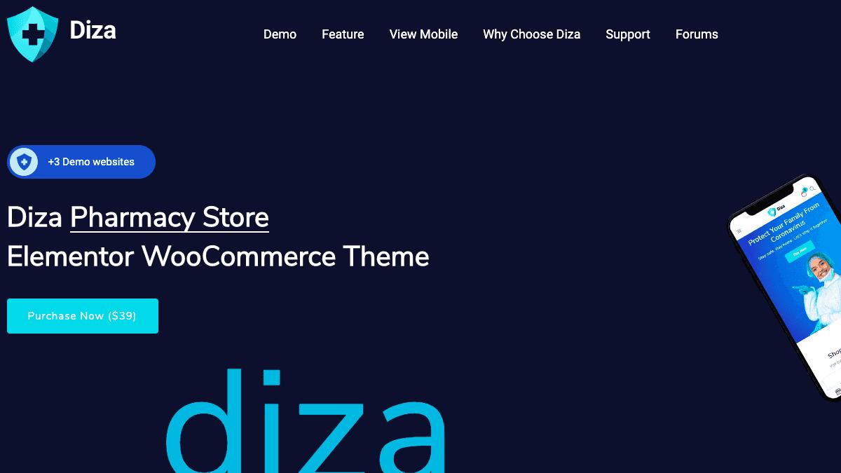 【WordPress 付費主題免費下載】Diza - Pharmacy Store Elementor WooCommerce Theme