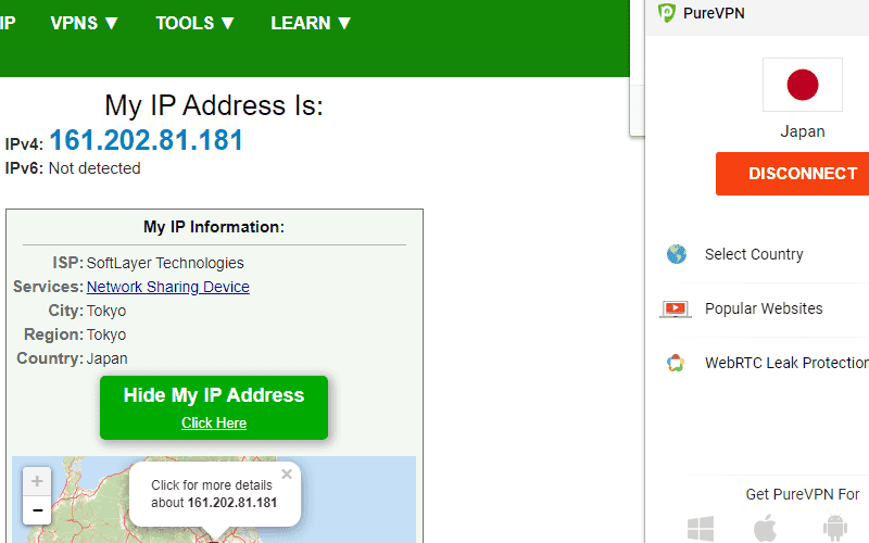 查詢 IP 確認是否切換至 VPN 伺服器