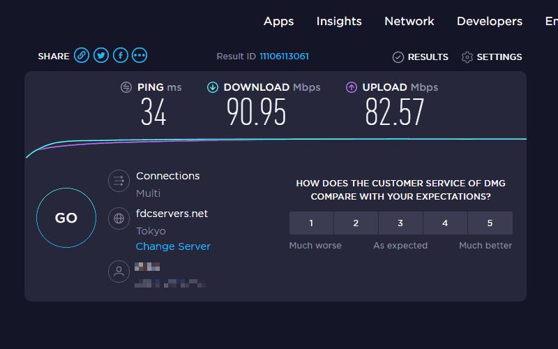 使用 VPN 之前的網路速度測試結果