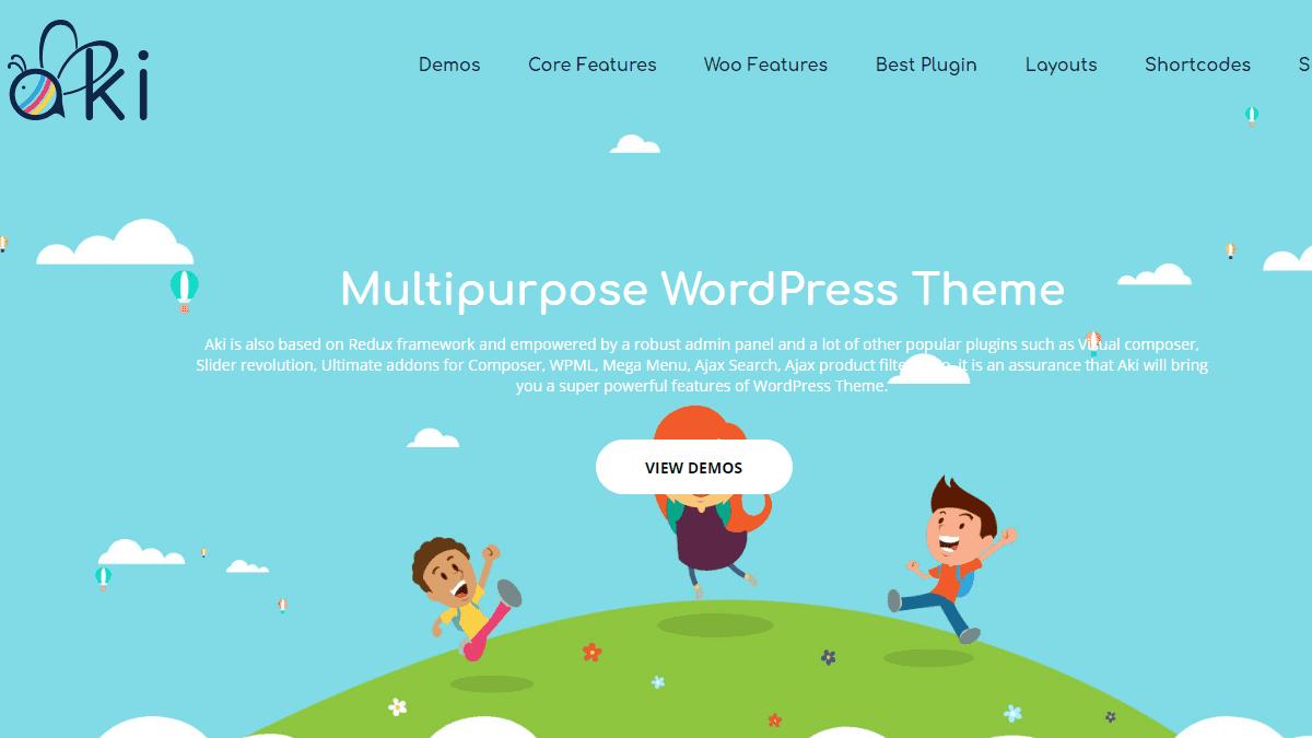 【WordPress 付費主題免費下載】Aki - Multipurpose Kids WordPress Theme