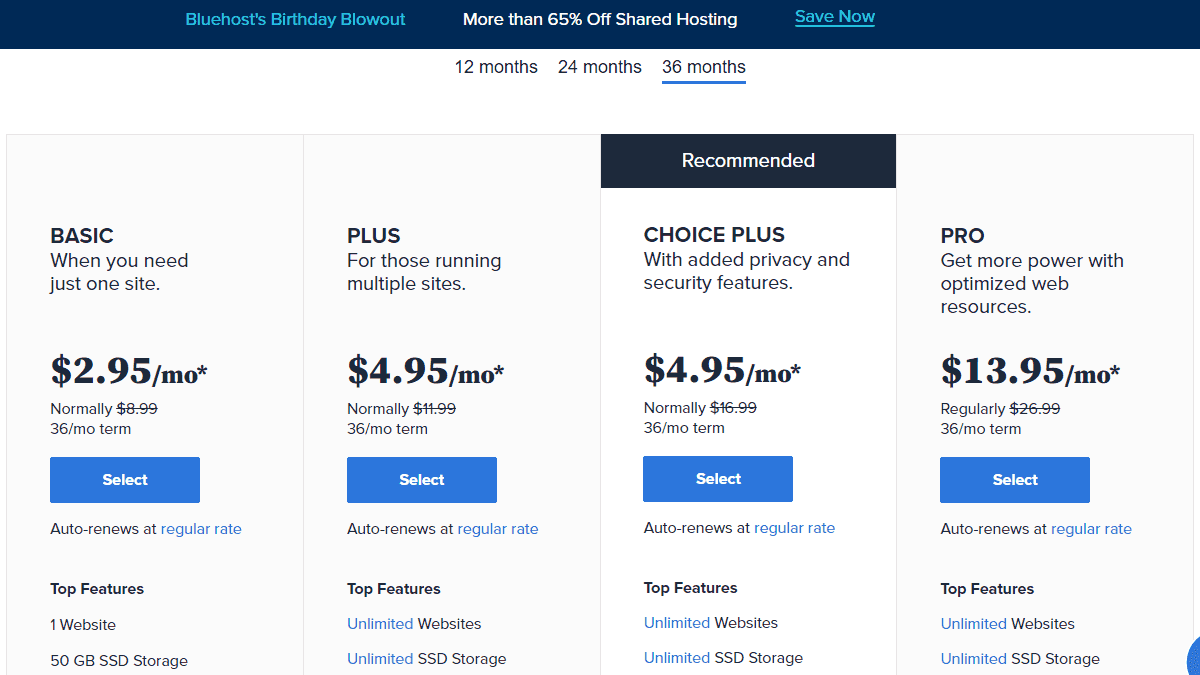 Bluehost's Birthday Blowout 2021 主機特惠價目表